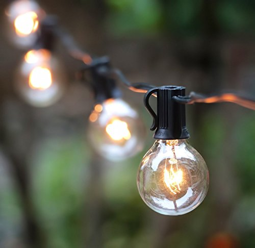 Outdoor String Lights, G40 Outdoor Retro String Light Bulbs Listed, Waterproof String Lights, For Indoor & Outdoor Décor, Wedding Light, Backyard Light,25ft(7.62M) Perfect for Patio, Cafe, Garden, Festoon Party Decoration(25 Bulbs + 3 Spare Bulbs + 3 Fuse)
