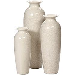 hosley de agrietado Juego de 3jarrones de cerámica de Marfil en caja de regalo