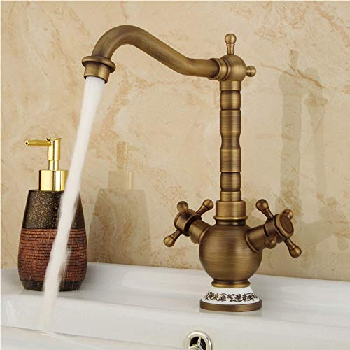 Wasserhahn Klassische Goldene Bad Becken Wasserhahn Mischbatterie Wc Wasserhahn Doppelgriffe Bad Messinghahn Heiß Kaltwasser Mixer Control Deck Montieren - Single-deck-control Valve