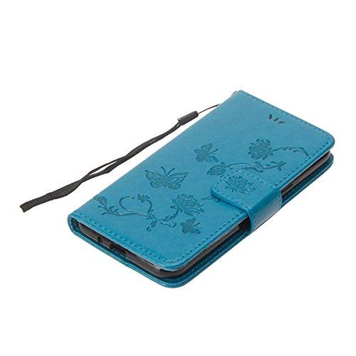 Coque Galaxy J5 2016, Etui pour Samsung Galaxy J5 2016, ISAKEN Coloré Aarbre Hibou Style PU Cuir Flip Magnétique Portefeuille Etui Housse de Protection Coque Étui Case Cover avec Portable Dragonne Sta lotus: bleu