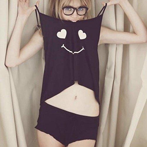 ROPALIA 8 Styles de Vêtements de Nuit Coton Mélangé Court Pantalon Chemise Pyjama de Nuit Ensemble style 1