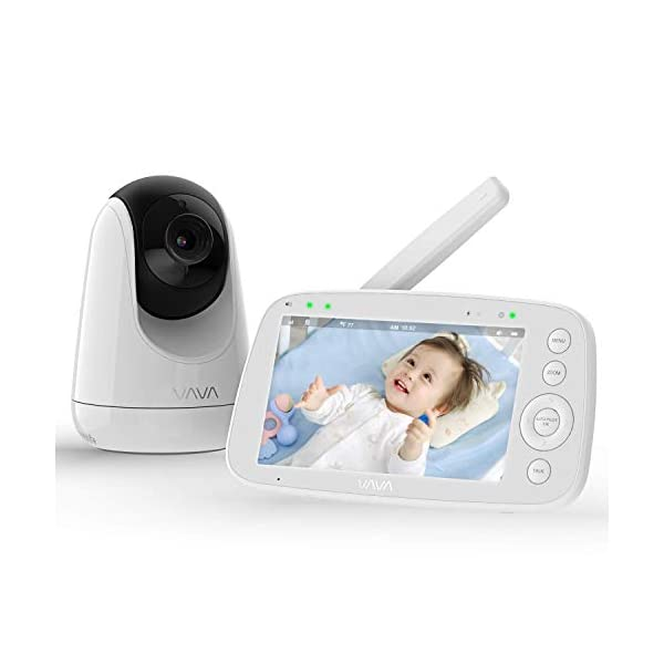 "Baby Monitor, VAVA 720P 5"" HD Display Video Baby Monitor with Camera and Audio, IPS Screen, 480ft Range, 4500 mAh Battery, Two-Way Audio, One-Click Zoom, Night Vision and Thermal Monitor VAVA 【High quality 5-inch baby monitor】Equipped with an advanced 5-inch LCD screen and 720P HD camera, the image quality is 10 times higher than the traditional 240P display baby monitor. When your baby moves, it can move 270° horizontally or 110° vertically, and can also zoom in 2x and 4x. It also has full-color images of the day and grayscale infrared images of the night, so you can clearly see all the subtle movements of your little baby. 【Up to 24hr Battery Life】 VAVA Baby monitor built in 4500mAh rechargeable battery lasts for 12hrs in display mode, 24hrs with the display turned off for full-day monitoring of your baby. 【Effortless Monitoring】 LED noise indicators and an external thermostat keep you accurately updated on your baby's wellbeing; set to the highest to alert even the heaviest sleeper or set to low volume to hear only loud noises with 7 volume levels.When your baby is crying, you can immediately respond to the walkie-talkie system to calm your baby. 1"