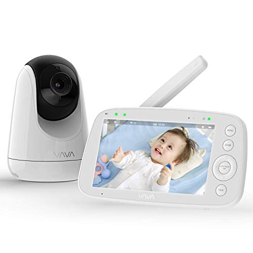 VAVA Babyphone mit Kamera 720P HD 5 Zoll Video Baby Monitor mit 24 Std. Laufzeit, Nachtsichtkamera, 300m Signalreichweite, Temperatursensor, Gegensprechfunktion & Zoom Funktion