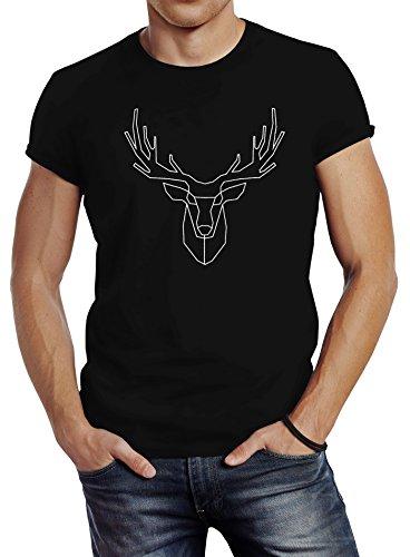Neverless Herren T-Shirt Hirsch Polygon Geweih Geometrisch Formen Slim Fit schwarz L Herren Hirsch