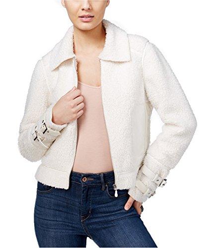 Guess Damen Alternativer Daunenmantel Gr. XS, Macadamia Faux Leather Trim Jacket