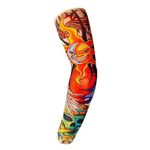 TUDUZ 1 Pc Unisex Radfahren Handschuhe Arm Warmers UV-Sonnenschutz Anti-Rutsch für Herren Damen für Radsport Wandern Golf Basketball Driving Outdoor Sport Tattoo Decke Elbow Sleeve (One Size, D)