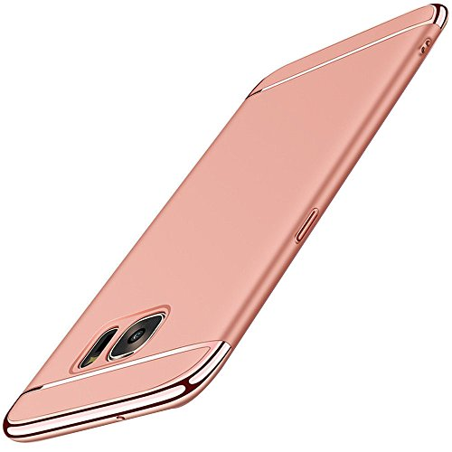 ge Hülle, 3 in 1 Ultra-thin 360 Anti-Scratch Shockproof Hard PC Skin Smooth Case Cover with Electroplate Bumper für Samsung Galaxy S7 Edge (Samsung Galaxy S7 Edge, Rose Gold) (Gold Frames Bulk)
