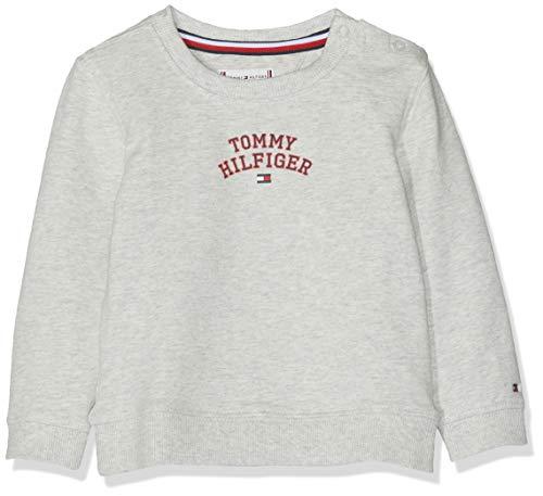 Tommy Hilfiger Baby-Mädchen Essential Logo Sweatshirt Grau (Light Grey Htr 023), Herstellergröße: 92