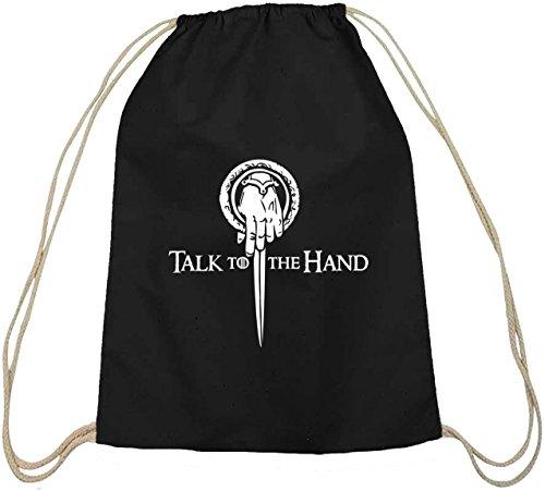 Shirtstreet24, Talk To The Hand, Baumwoll natur Turnbeutel Rucksack Sport Beutel, Größe: onesize,schwarz natur -