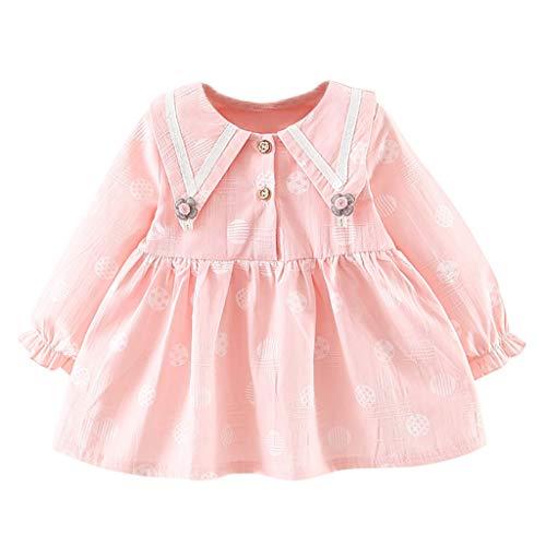 Pageantry Prinzessin Kleid Baby Mädchen Lange Ärmel Kleid Drucken Freizeit Einfarbig Partykleid Revers Knopf Kleid Mode Sommerkleid Weste A-Linie knielangen MiniKleid (Baby Leia Kostüme)