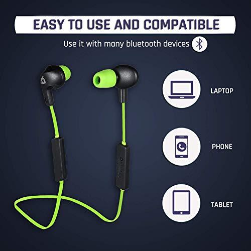 KLIM Pulse Bluetooth 4.1 In-Ear Kopfhörer 2019 Version Kabellose Kopfhörer – Geräuschreduzierung – Perfekt für Sport, Musik, Anrufe, Gaming – Magnetisch Memory Schaum Ohrstöpsel Grün - 5