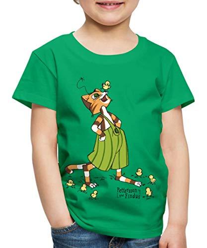 Küken Mädchen T-shirt (Spreadshirt Pettersson Und Findus Spielt Mit Süßen Küken Kinder Premium T-Shirt, 98/104 (2 Jahre), Kelly Green)