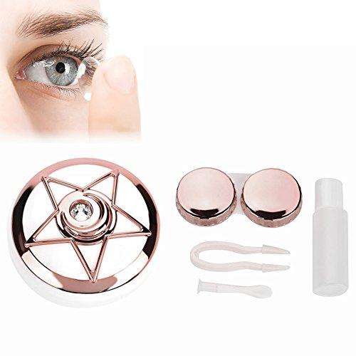 Contenitore lenti, lenti a contatto viaggio scatola per lenti a contatto con specchio pinzetta bastone e bottiglia di soluzione portatile(rosa)