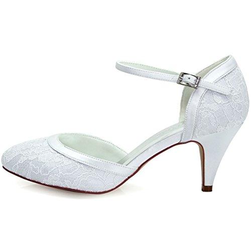 ElegantPark HC1508 Escarpins Femme Dendelle Bride cheville Boucle Bout Rond Mary Janes Talon Dentelle Chaussures Pompes Blanc