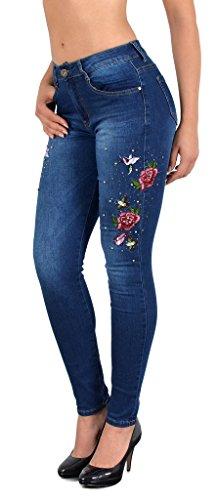 by-tex Damen Jeans mit Blumen Rosen Stickerei Skinny Jeanshose mit Blumenstick Slim Jeans bis Übergröße 50 # J302 (Hose Jeans Rose)