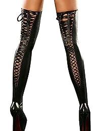 Longra ♥♥Mujeres medias de muslo, calcetines de cuero de club de encaje arco largo