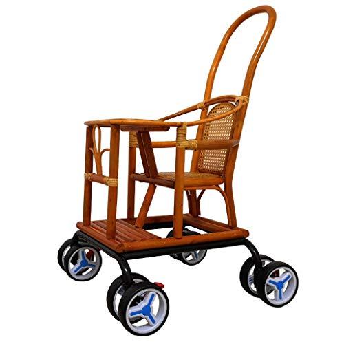 JAZC-Bettgitter Baby Cart Light Bamboo Kinderwagen Bambus Und Rattan Stuhl Krippe Reisebetten Mit Markise Und Ablagekorb - Lite Cart