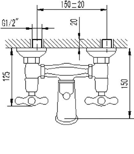 AquaSu – Badewannenarmatur, Zweigriffmischer Athenas inklusive Brausegarnitur, Chrom - 3