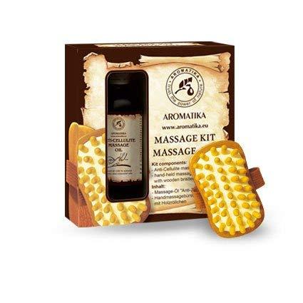 Anti Cellulite Öl 100ml – Massageöl & Massagebürste – Geschenkset mit Massageöl – Anti Cellulite Öl 100% Natürliche – Mischung aus Ölen – Jojobaöl – Traubenkernöl –