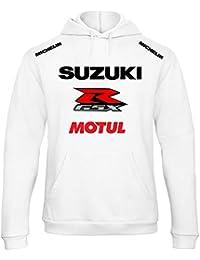 ZETAMARKT Felpa con Cappuccio Suzuki MOTUL Racing Personalizzata Bianca  SCBU0110 241af01ba292