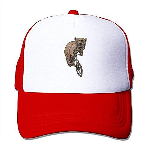 Hoswee Unisex Kappe/Baseballkappe, Bear On A Mountain Bike Men's Mesh Back Trucker Cap Air Mesh Polyester Cap -