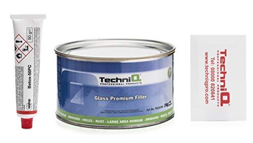 TechniQ 2K Glasfaser-Füller, 2 kg, große Dose, Fiberglas, Auto-Füller, mit Härter und Spreizer