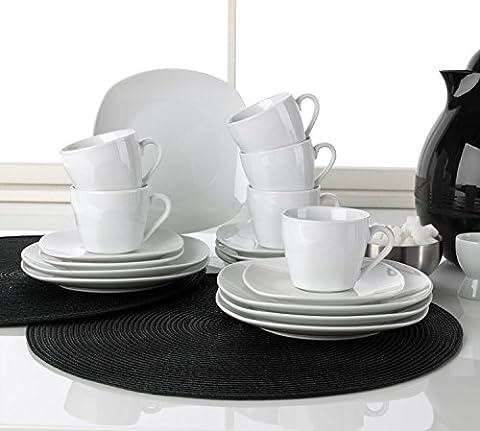 Kaffee-Service Kaffeegeschirr Geschirrset BELLISA   18-tlg. (6 Personen)   Weiß   Porzellan