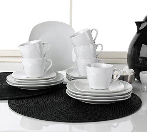 Kaffee-Service Kaffeegeschirr Geschirrset BELLISA | 18-tlg. (6 Personen) | Weiß | Porzellan