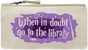 Grindstore Trousse When In Doubt Go To The Library 21 x 11 cm crème | Le Roi De La Quantité