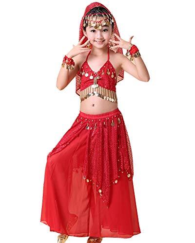 Billig Kinder Kostüm Bauchtanz - Kinder Mädchens Damen Indische Tanzkleid Crop Top Rock Bauchtänzerin Kostüme Rot OneSize Höhengeeignet 125-135CM