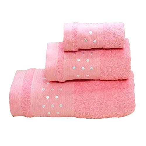 Lunares Toallas De Baño De 3Piezas–Juego de toallas de baño + Toalla de mano +–Toalla de tocador, W/Blanco y Rosa