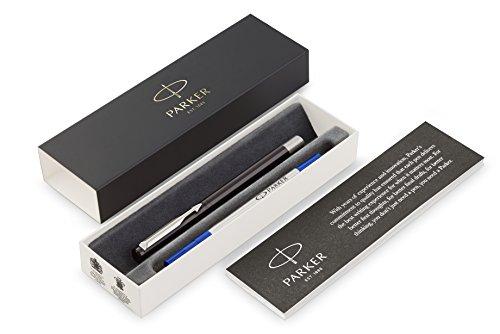 Parker Vector Penna Roller con Finiture Cromate, Punta Media, Inchiostro Blu, Confezione Regalo, Nero