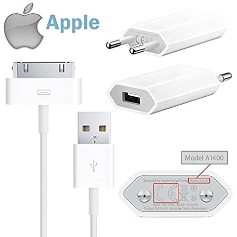 Original Apple USB 5W Adapter MD813ZM/A A1400 USB Netzteil + original Dock Datenkabel MA591 für iPhone 4s, 4 3Gs 3G, iPod Shuffle Touch (Bulkware)