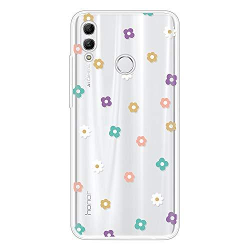 Miagon Klar Hülle für Huawei P Smart 2019,Kreativ Silikon Case Ultra Schlank Transparente Weich Handyhülle Anti-Kratzer Stoßfest Schutzhülle,Bunt Blume