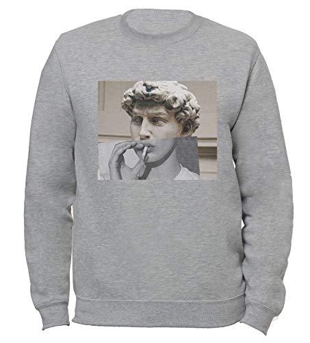 David Michelangelo Modern Art Malerei Zigarette Smoke Ästhetik Skulptur Unisex Damen Herren Sweatshirt Pullover Gr. Small, grau