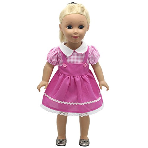 FUNDIY Plaid Peter Pan Collar Doll Clothes Princess Party Dress Costume Gown Outfits For 18 inch American Girl (Costume Ball Barbie)