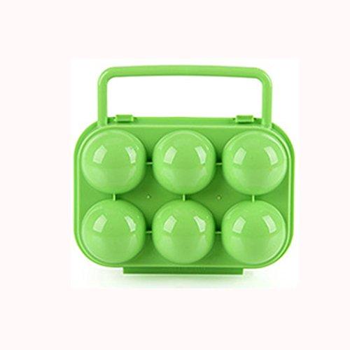 mamum tragbar 6Eier Kunststoff Container Halter faltbarer Ei Aufbewahrungsbox Griff Fall, plastik, grün, About 15.5 x 15 x 7cm / 6.1x5.9x2.7 inch (L X W)