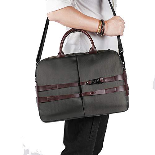 KPOON Aktentasche für Männer Erweiterbare große Hybrid Umhängetasche Herren Vintage Composite Fiber Work Bag Laptop wasserdichte Tasche Vintage Laptoptasche (Farbe : Grün) -