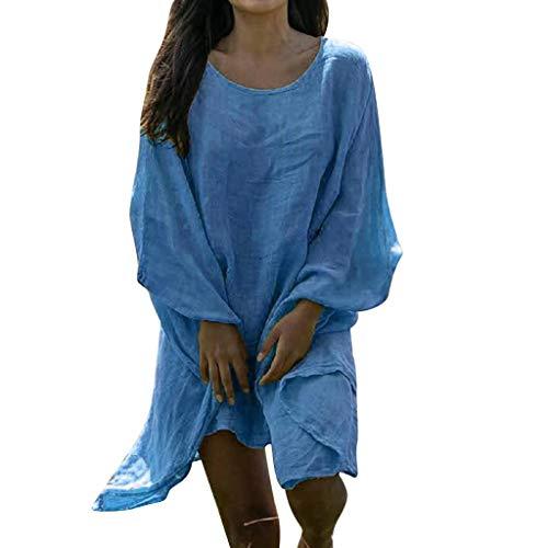 MOTOCO Damen O Ausschnitt Baumwolle T-Shirt (L,Blau) -