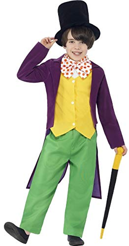 Kostüm Willy Kind Wonka - Jungen Roald Dahl Willy Wonka Büchertag Charakter Charlie & The Chocolate Fabrik Kostüm Kleid Outfit (10-12 Jahre) - Multicolore, 10-12 anni