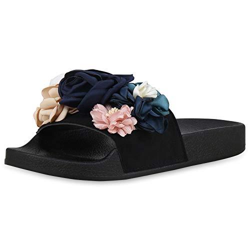 SCARPE VITA Damen Sandalen Pantoletten Blumen Schlappen Hausschuhe Flats 176469 Schwarz Blumen 38 (Damen Blumen Sandalen)