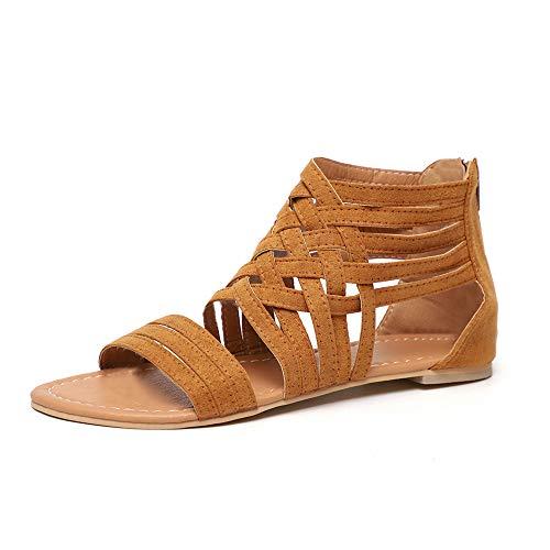 Sandales Femmes Plates Bout Ouvert Chaussures D'été Plage Romain Gladiateur Fermeture éclair Cheville Tongs Poids Léger Marron EU37