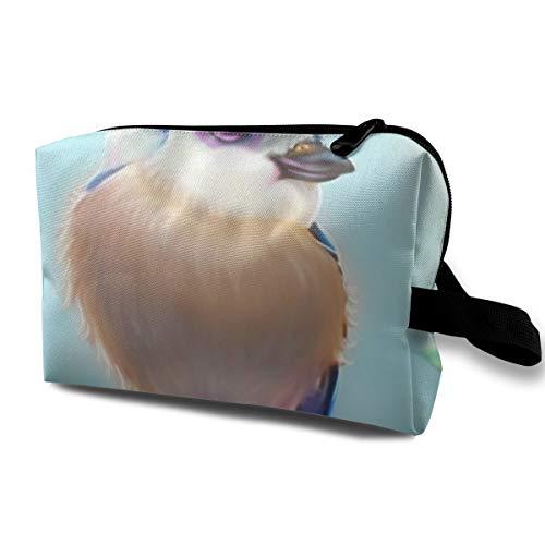 Blue Headed Bird Reisegepäcktasche Cute Makeup Case Großer Spiegel Damen Mädchen Dunkelblau
