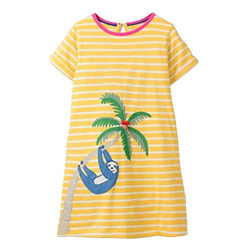 VIKITA Mädchen Sommer Herbst Streifen Baumwolle T-Shirt Kleid EINWEG JM6266 7T (Mädchen In Gelben Kleid)