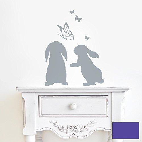 Wandtattoo Hasen Kaninchen mit Schmetterlingen M1861 ausgewählte Farbe: *lavendel* ausgewählte Größe: - Kaninchen Lavendel