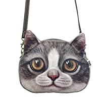 Women Ladies Girls Cute Lovely Cat Face Animal Theme Shoulder Bag Lovely Cat Head Stylish Crossbody Bag Shopping Handbags Clutch Brown Eyes