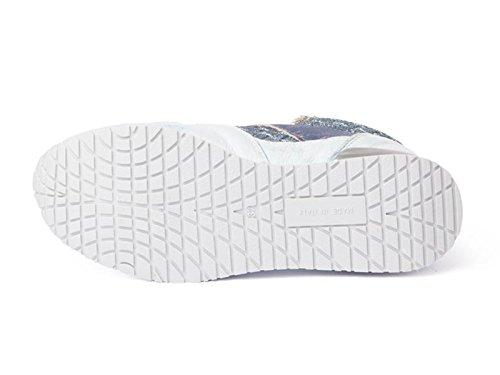 Baskets 2 Star pour femme en cuir et tissu azur - Code modèle: 2SG1100 Azur