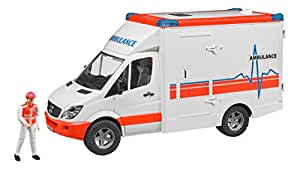 bruder 02536 v hicule ambulance mercedes benz sprinter avec ambulancier jeux et. Black Bedroom Furniture Sets. Home Design Ideas