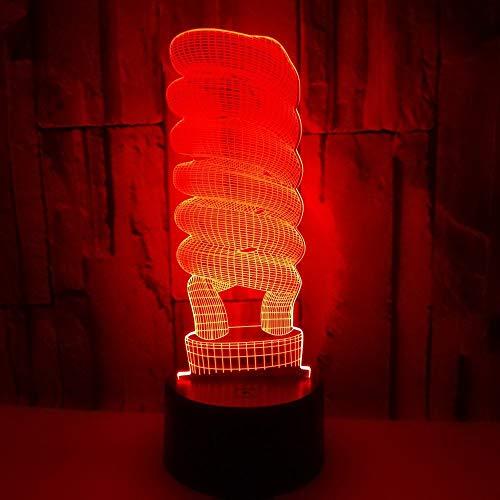Kreative Lampe Rohrform 3D führte Nachtlicht 7 Farbe schwarz Basis Kinderzimmer Schlafzimmer Dekoration USB Geburtstagsgeschenk Weihnachtsgeschenk Hauptdekoration