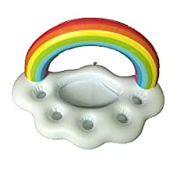 SHARESUN Rainbow Cloud Inflatable Cup Holder,glass stand, Swimming Pool Drink Rack Floating Drink Floating Object Salad Fruit Beer Bar Cup Holder, Leisure Mug Water Inflatable Cup Holder
